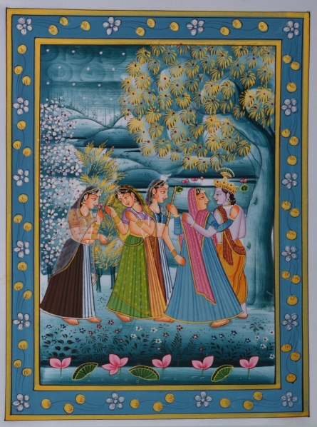 Unknown | Miniature Traditional art title Radha Krishna With Gopis In Lawn on Silk | Artist Unknown Gallery | ArtZolo.com