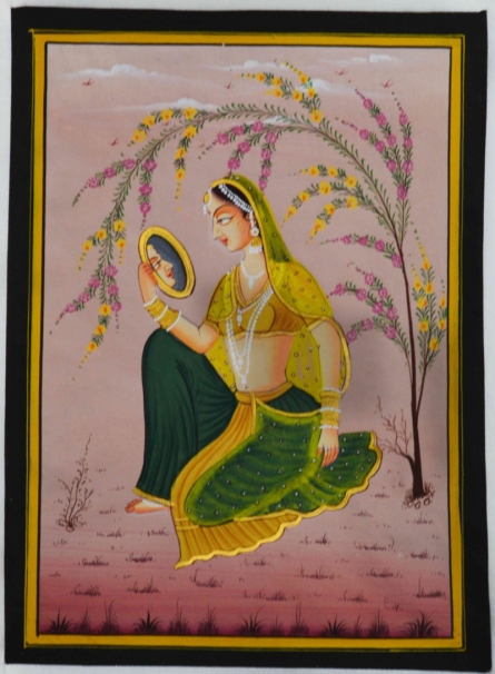 Traditional Indian art title Ragini Admiring Self In Mirror on Silk - Mughal Paintings