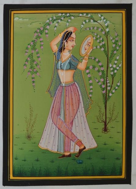 art, traditional, miniature, silk, figurative