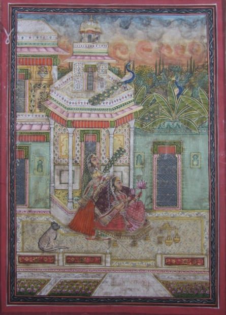 Traditional Indian art title Ragini At Courtyard on Paper - Mughal Paintings