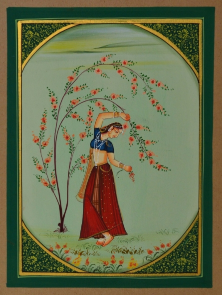 Traditional Indian art title Ragini Dance Moves on Paper - Miniature Paintings