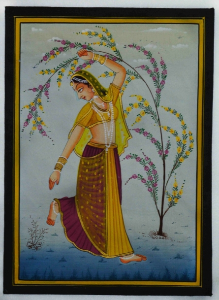 Traditional Indian art title Ragini Dancing on Silk - Mughal Paintings
