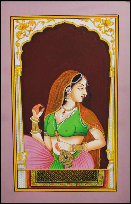 Traditional Indian art title Ragini Looking Out From Window on Paper - Mughal Paintings