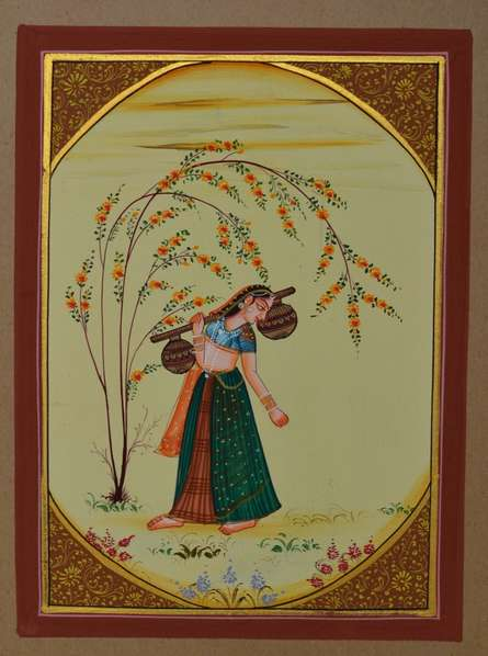 Traditional Indian art title Ragini Playing Musical Instrument on Paper - Miniature Paintings