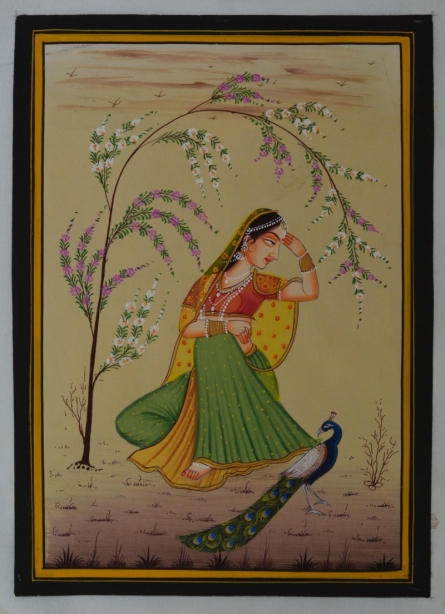 Traditional Indian art title Ragini Playing With Peacock on Silk - Miniature Paintings