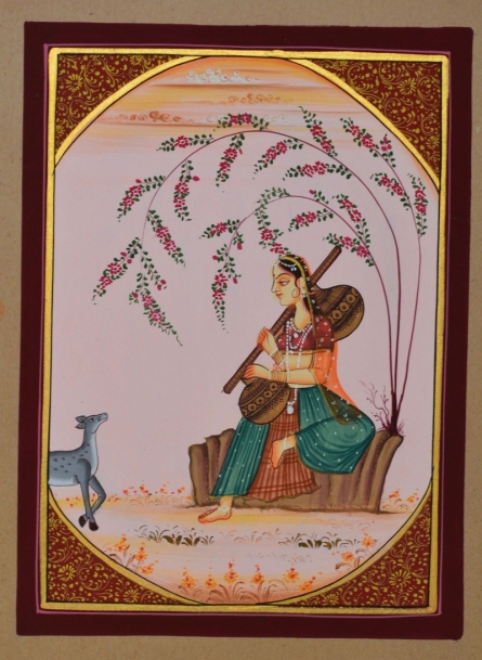 Traditional Indian art title Ragini Sitting And Playing With Deer on Paper - Miniature Paintings