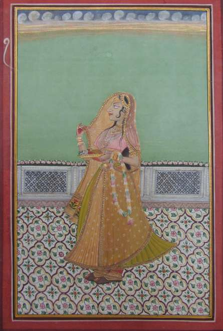 Traditional Indian art title Ragini Waiting on Paper - Mughal Paintings