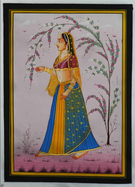 Unknown | Mughal Traditional art title Ragini With A Tree Branch on Silk | Artist Unknown Gallery | ArtZolo.com