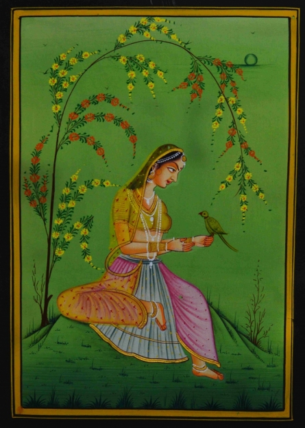 Traditional Indian art title Ragini With Bird on Silk - Mughal Paintings