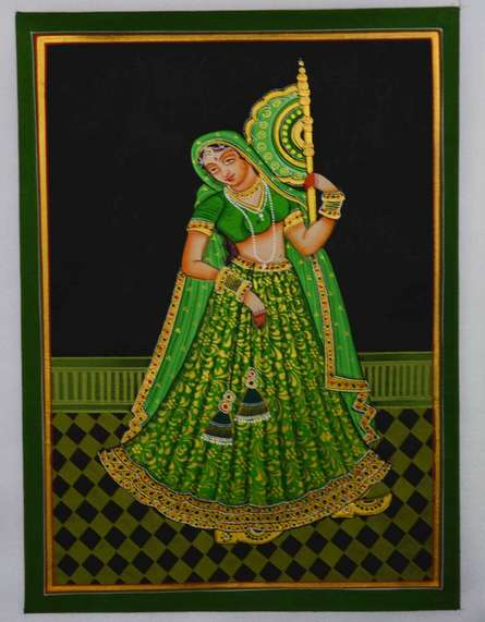Traditional Indian art title Ragini With Hand Fan on Silk - Mughal Paintings