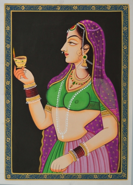 Traditional Indian art title Ragini With Lamp In Hand Silk on Silk - Miniature Paintings