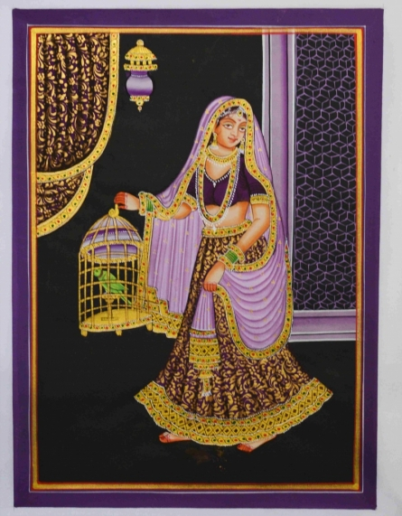 Traditional Indian art title Ragini With Parrot on Silk - Mughal Paintings
