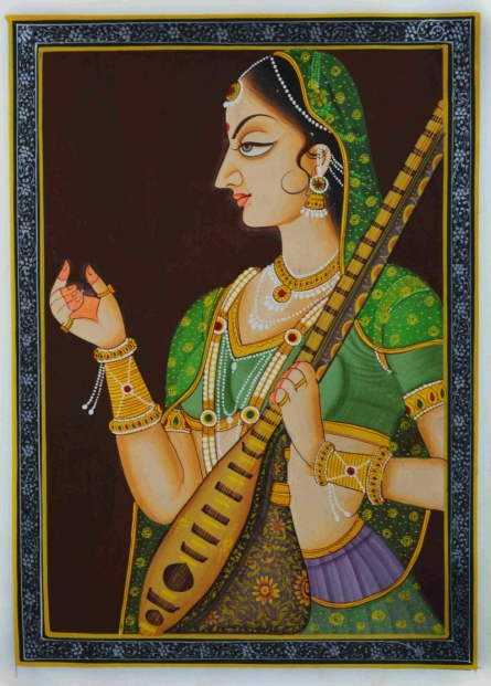 Traditional Indian art title Ragini With Sitaar on Silk - Mughal Paintings
