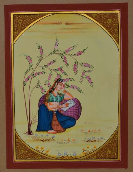 Traditional Indian art title Ragini Writing Moments on Paper - Miniature Paintings