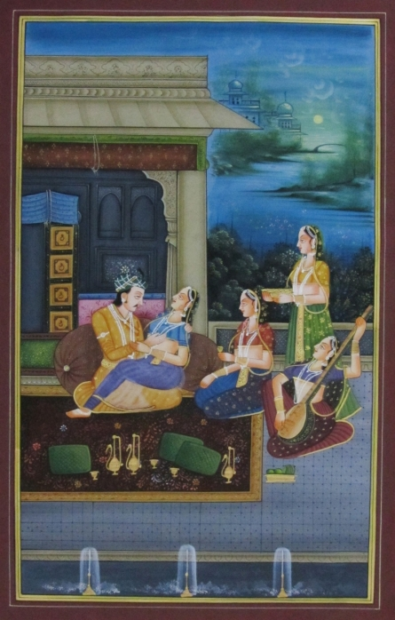 Traditional Indian art title Raja Rani Romantic Moments on Silk - Mughal Paintings