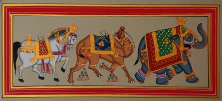 Traditional Indian art title Royal Animals 1 on Paper - Mughal Paintings