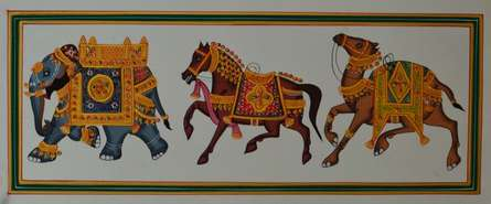 Traditional Indian art title Royal Animals Decked With Gold Ornaments on Paper - Mughal Paintings
