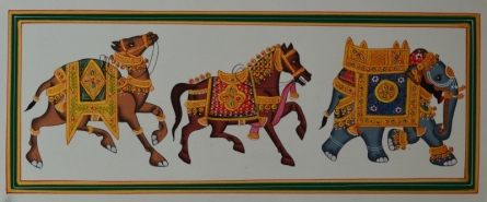 Traditional Indian art title Royal Animals With Gold Jewellery on Paper - Mughal Paintings