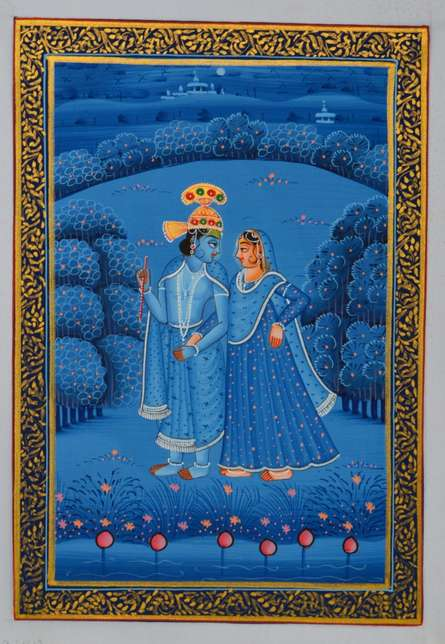 Traditional Indian art title Royal Couple In Lawn At Midnight on Silk - Miniature Paintings