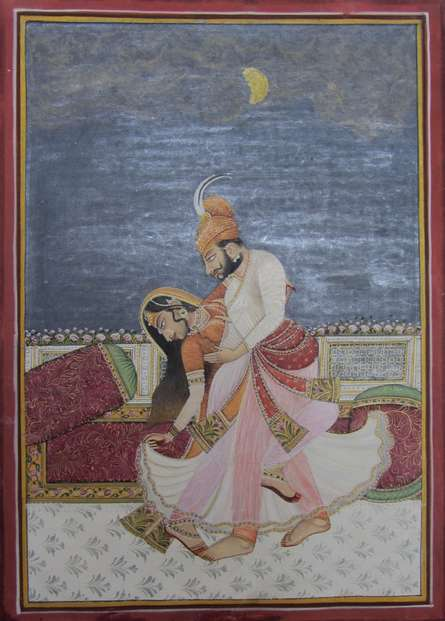 Traditional Indian art title Royal Couple Romancing on Paper - Mughal Paintings