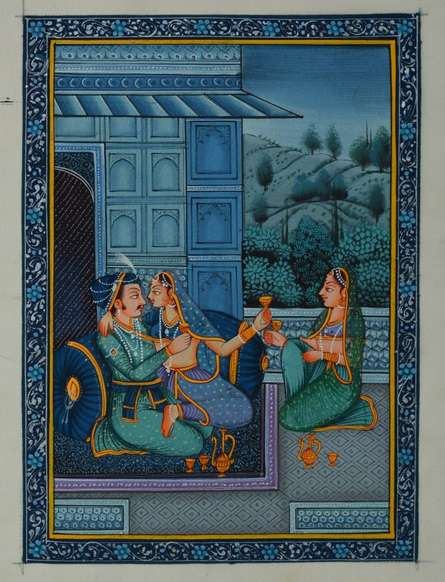 Traditional Indian art title Royal Couple Romantic Scene on Silk - Mughal Paintings