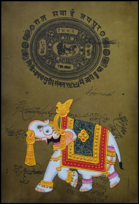 Traditional Indian art title Royal Elephant on Paper - Miniature Paintings
