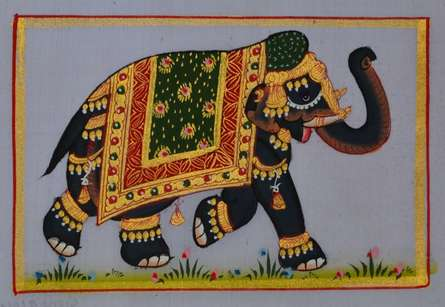 Unknown | Miniature Traditional art title Royal Elephant 3 on Silk | Artist Unknown Gallery | ArtZolo.com