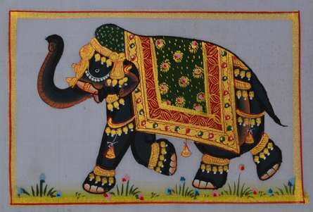 Unknown | Miniature Traditional art title Royal Elephant 4 on Silk | Artist Unknown Gallery | ArtZolo.com