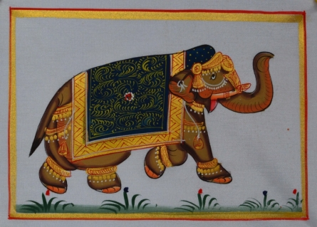 Traditional Indian art title Royal Elephant 5 on Silk - Miniature Paintings