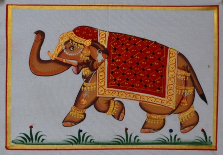 Traditional Indian art title Royal Elephant 6 on Silk - Miniature Paintings