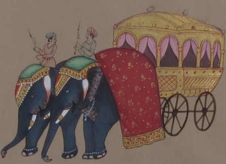 Traditional Indian art title Royal Elephant Cart on Paper - Mughal Paintings