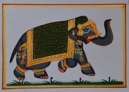 Traditional Indian art title Royal Elephant In Lawn 2 on Silk - Miniature Paintings