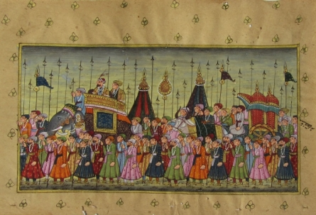 Traditional Indian art title Royal March Mughal on Paper - Mughal Paintings