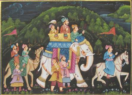 Traditional Indian art title Royal Mughal on Silk - Miniature Paintings