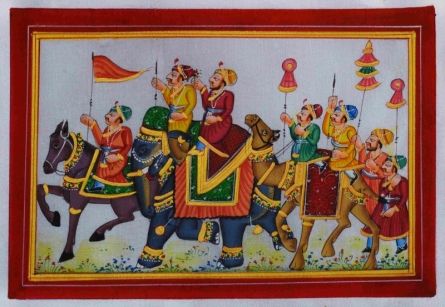 Traditional Indian art title Royal Procession 1 on Silk - Mughal Paintings