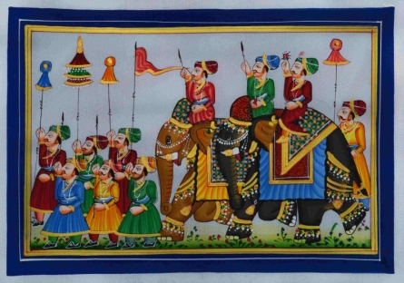 Traditional Indian art title Royal Procession 2 on Silk - Mughal Paintings