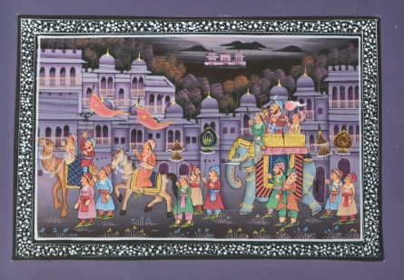Traditional Indian art title Royal Procession In Town on Silk - Mughal Paintings