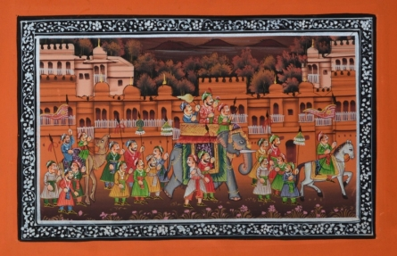 Traditional Indian art title Royal Procession Passing Through Town on Silk - Mughal Paintings