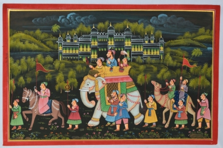 Traditional Indian art title Royal Procession Passing Through Woods 2 on Silk - Mughal Paintings