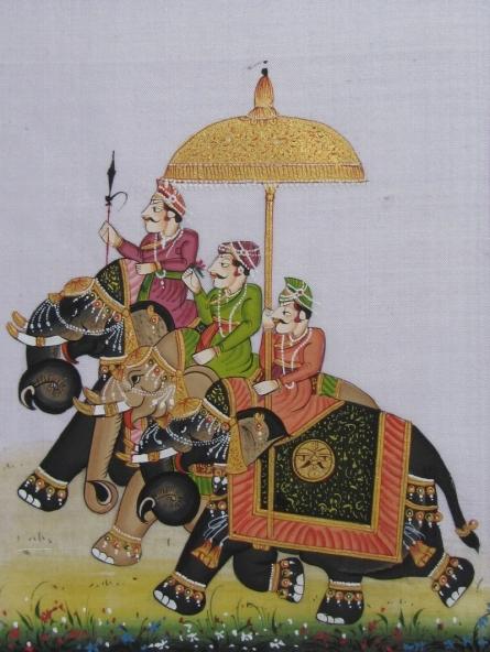 art, silk, traditional art, miniature, animal, elephant