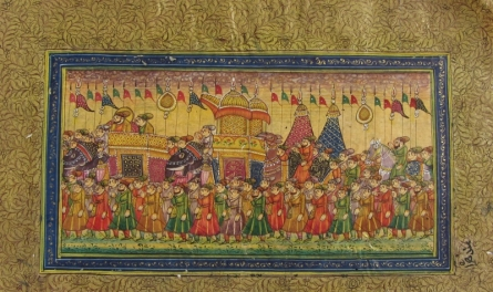 Traditional Indian art title Royal Troop Mughal Painting on Paper - Mughal Paintings