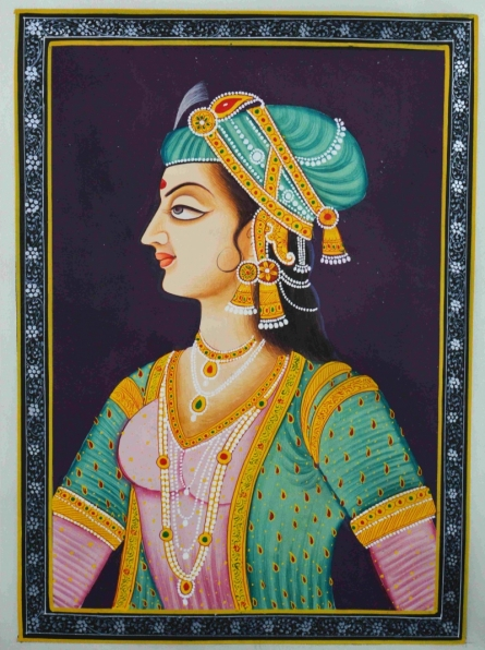 Traditional Indian art title Royal Woman Fighter on Silk - Mughal Paintings