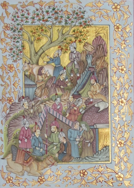 Traditional Indian art title Scene Of Mughal Court 1 on Silk - Mughal Paintings