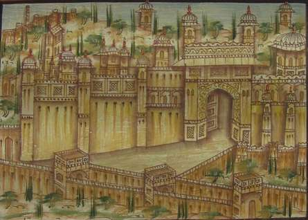 Traditional Indian art title The Amer Fort on Paper - Miniature Paintings