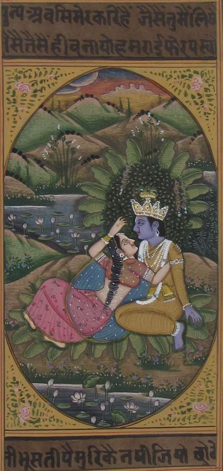 Traditional Indian art title The Eternal Love Of Radha Krishna on Paper - Miniature Paintings