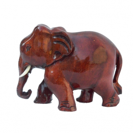 E Craft | Wooden Brownish Red Elephant Craft Craft by artist E Craft | Indian Handicraft | ArtZolo.com