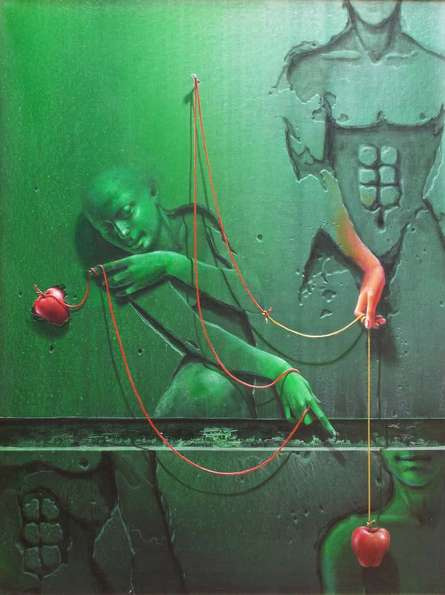 Figurative Acrylic Art Painting title Moods by artist Gopal Chowdhury