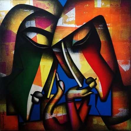 Figurative Mixed-media Art Painting title Bond Of Love Series by artist Jagannath Paul
