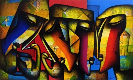 Figurative Mixed-media Art Painting title 'Togetherness 1' by artist Jagannath Paul