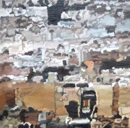 Cityscape 1 | Painting by artist Ganesh Pokharkar | oil | Canvas